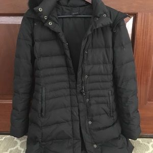 Elie Tahari black puffer coat with fur hood